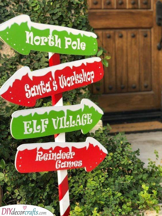 Signs Pointing Everywhere - North Pole Activities