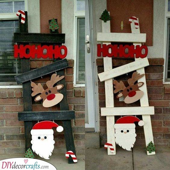 A Few Lovely Ladders - Outdoor Santa Decorations