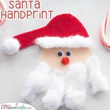 Awesome Hand Print Craft - Santa Claus Craft Ideas