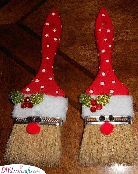 Painting Paint Brushes - Santa Claus Craft Ideas for Children