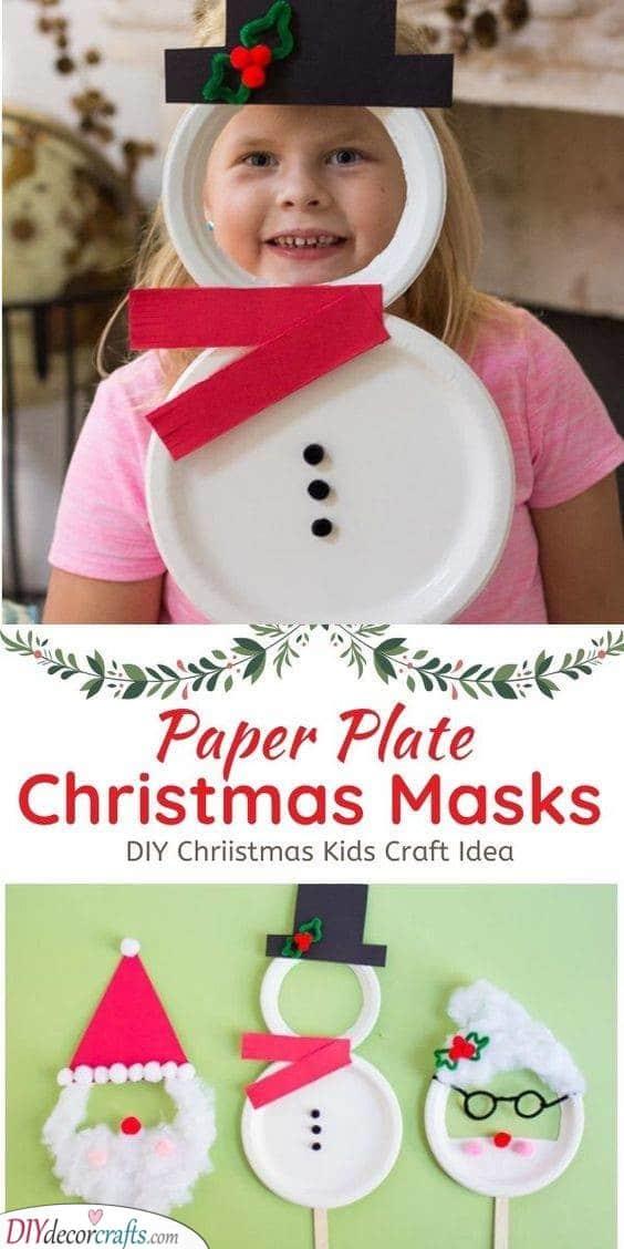 Paper Plate Masks - Santa Crafts for Kids