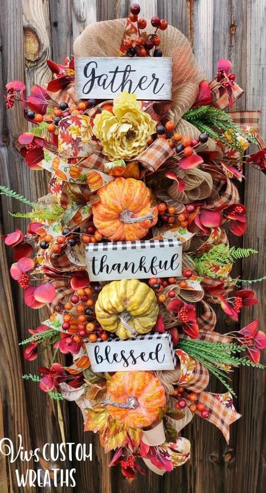 An Autumn Abundance - Thanksgiving Door Decorating Ideas