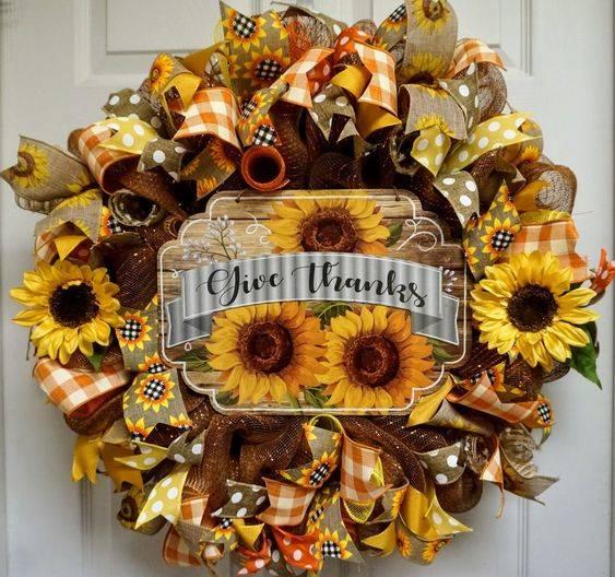 Stunning Sunflowers - Thanksgiving Wreaths for Front Door
