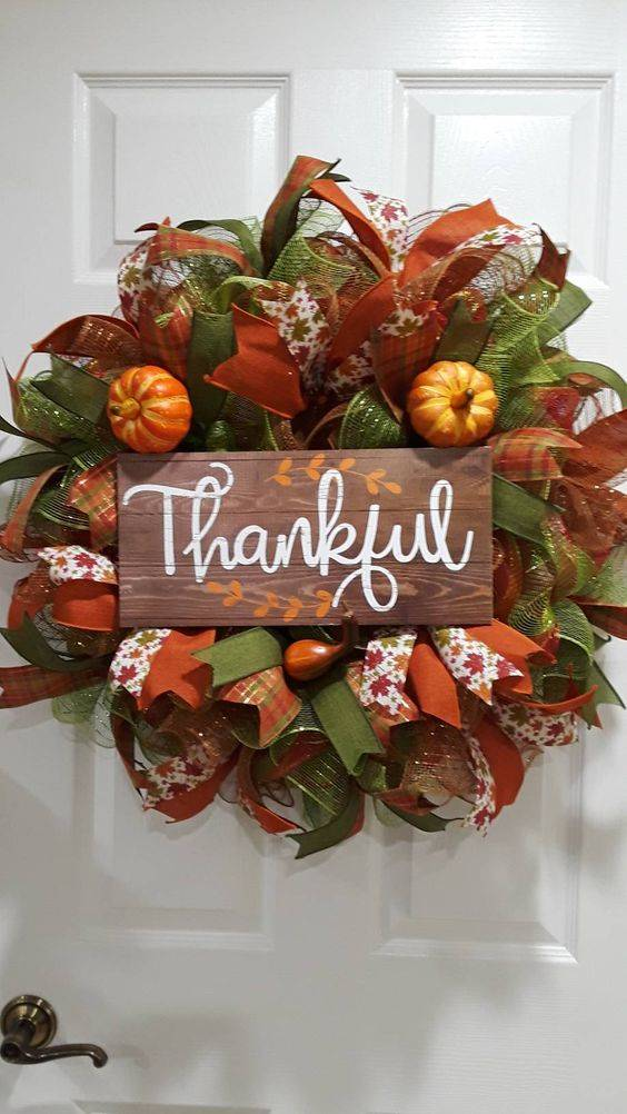 Happy and Thankful - Thanksgiving Wreaths for Front Doors