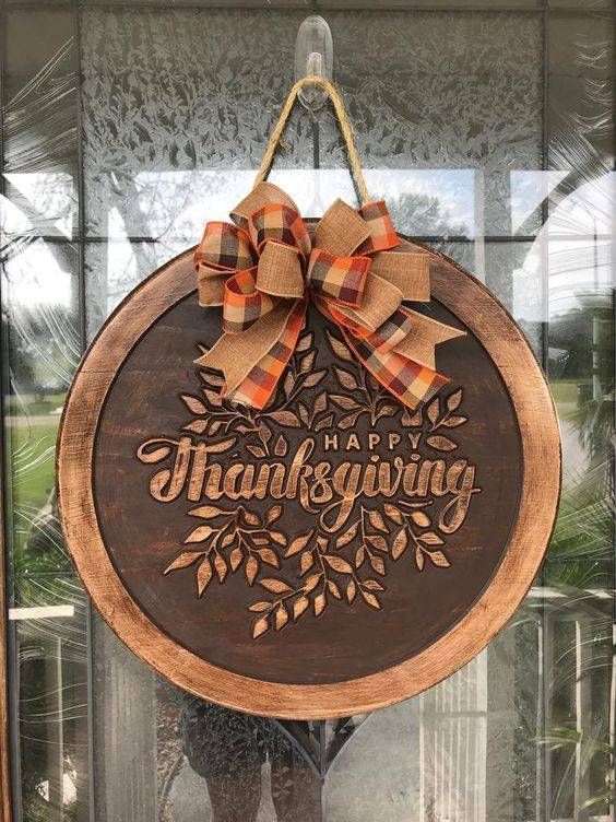A Wooden Plate - Thanksgiving Door Decorating Ideas