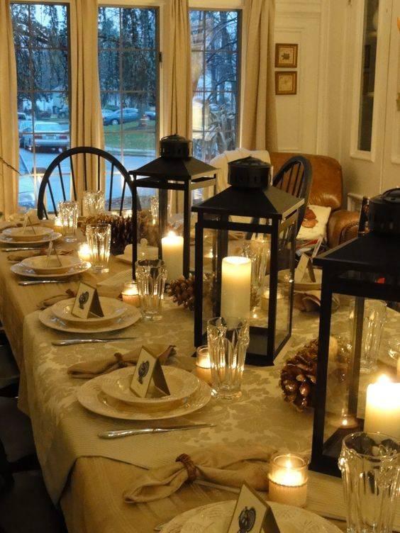 Lanterns and Pinecones - Thanksgiving Table Decor Ideas