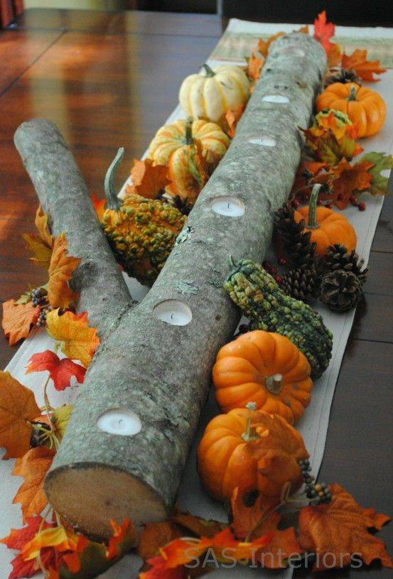A Log of Candles - Thanksgiving Centrepiece Ideas