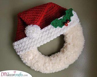 A Crocheted Hat - Santa Claus Wreath Ideas