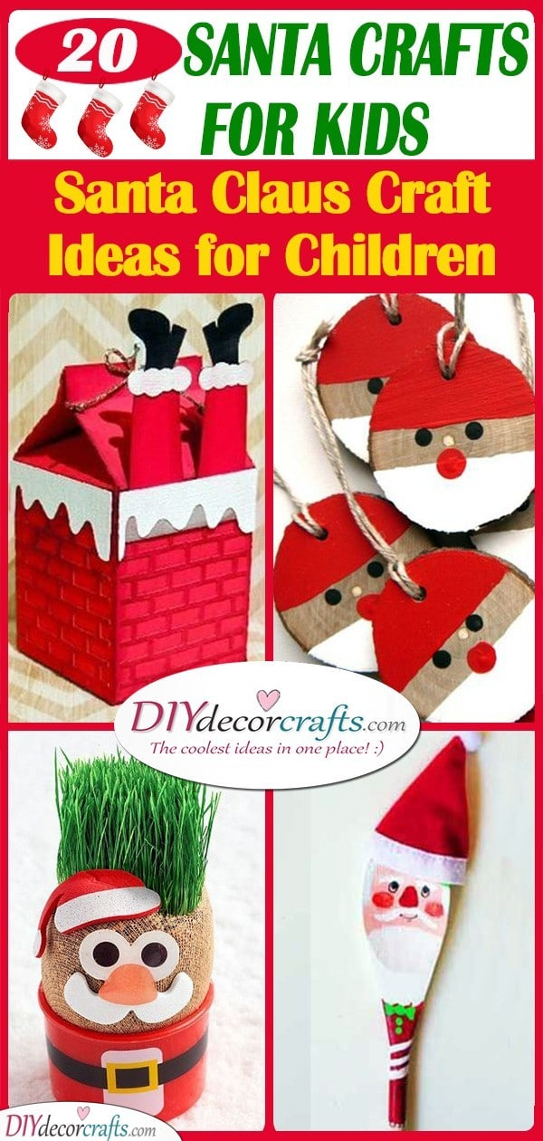 20 SANTA CRAFTS FOR KIDS - Santa Claus Craft Ideas for Children