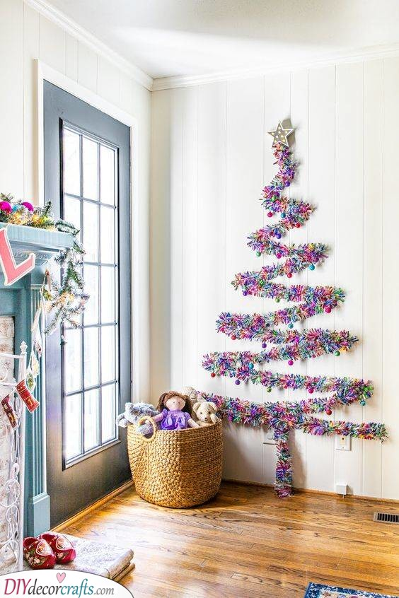 Vibrant and Colourful - Wall Christmas Tree Ideas