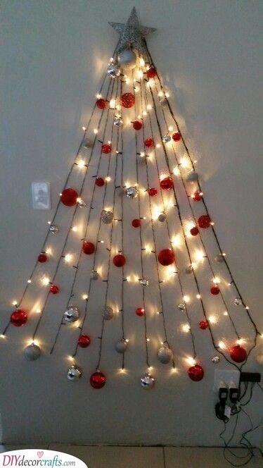 Rows of Lights - Wall Christmas Tree Ideas