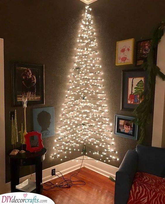 In an Inner Corner - Christmas Hanging Wall Tree Decor