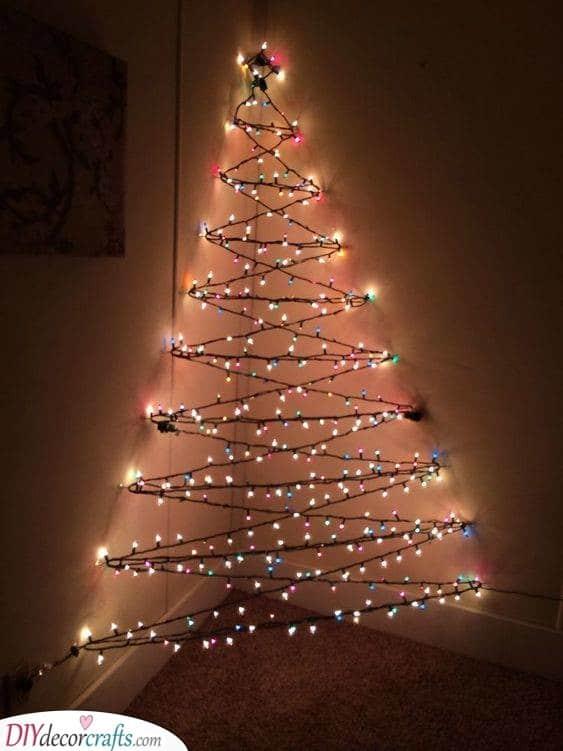 Multi-Coloured Lights - Wall Hanging Christmas Tree