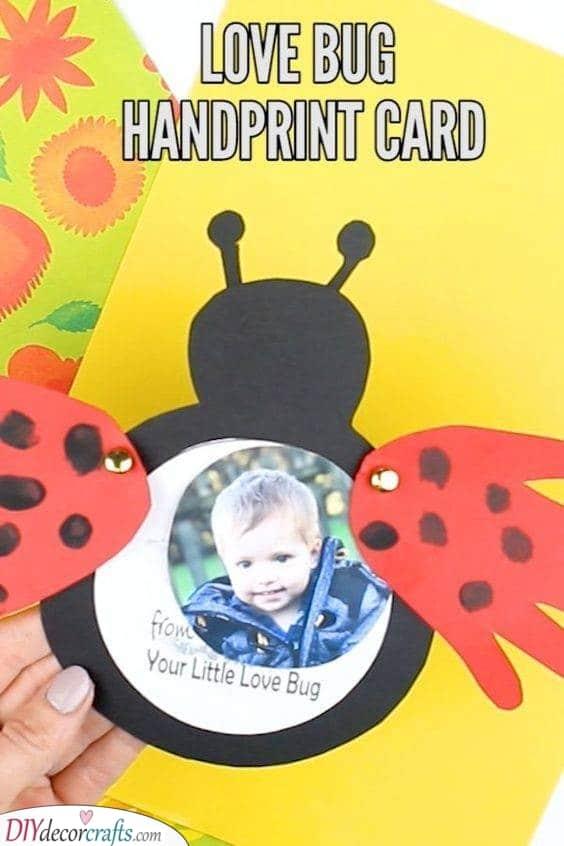 A Love Bug Handprint Card - Simple and Sweet
