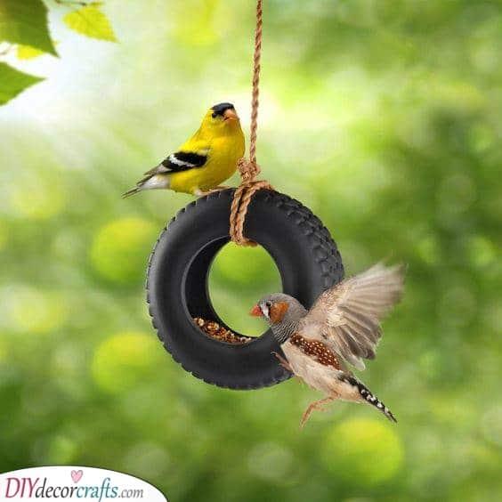 A Tiny Tire - Homemade Bird Feeder