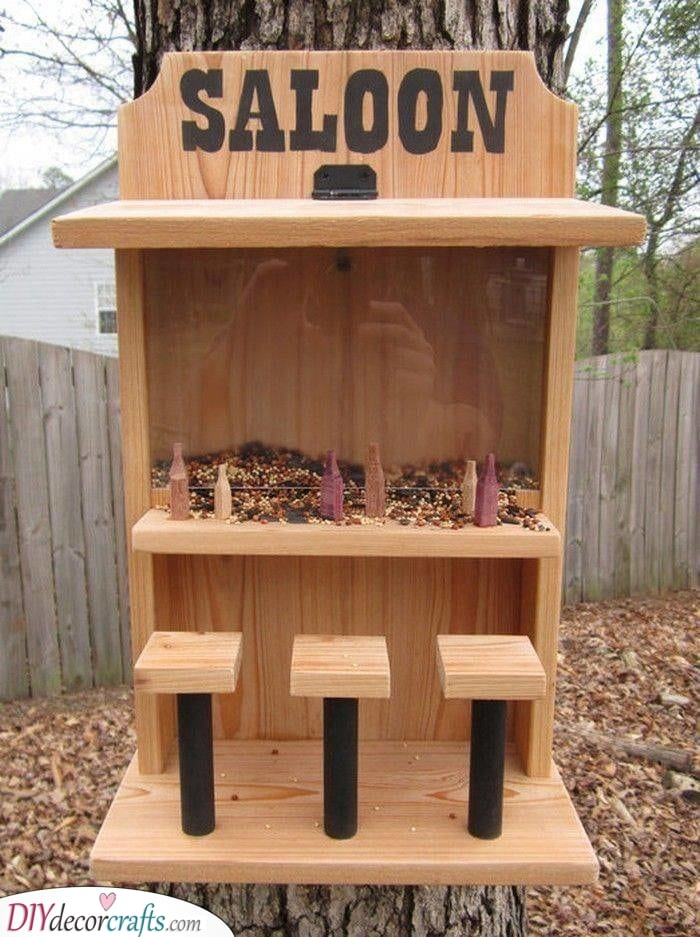 A Trip to the Saloon - Funny Homemade Bird Feeder