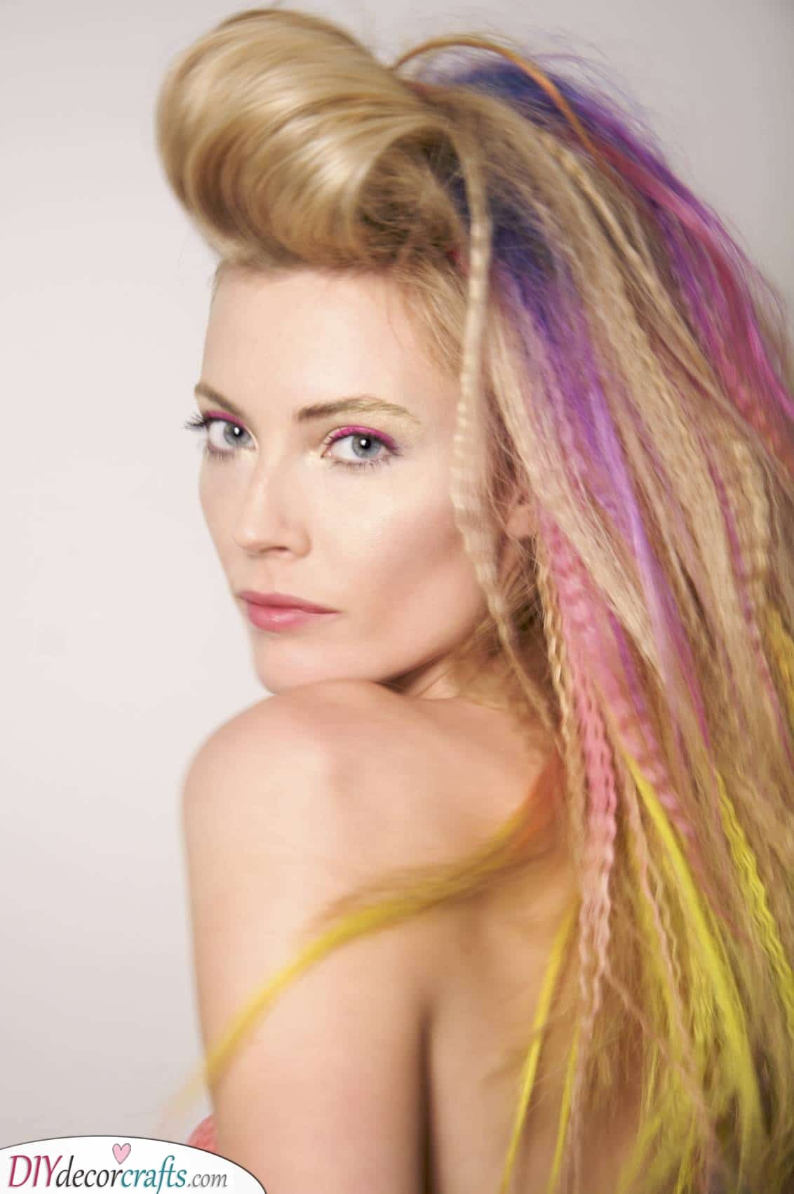 Streaks of Cool Colours - Crimped Hairstyles