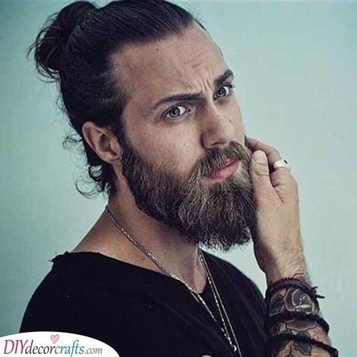 Matched with a Man Bun - Long Beard Style for Men