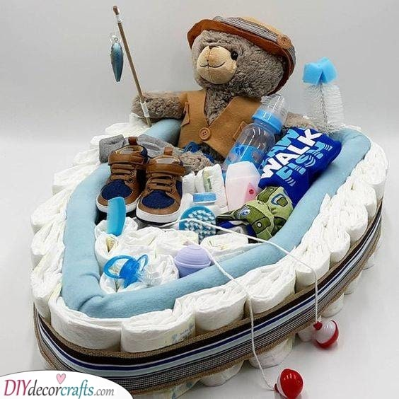 A Diaper Fishing Boat - Best Baby Shower Gifts