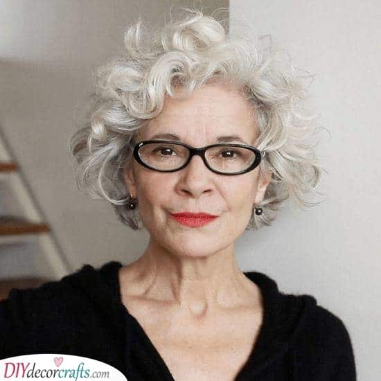 Curls for Days - Hairstyles for 50 Year Old Woman with Glasses