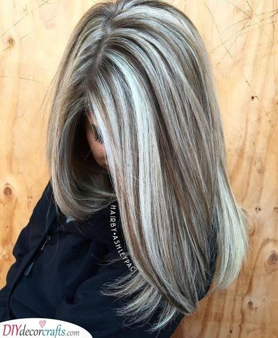 Light Brown and Silver - Balayage Inspiration