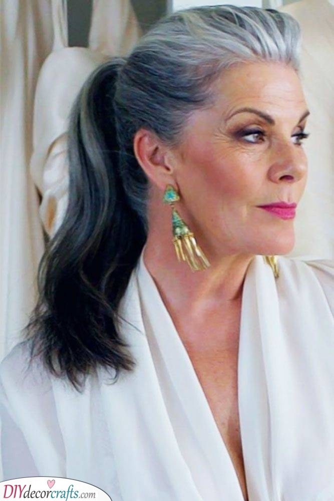 A Pretty Ponytail - Long Hairstyles for Women Over 50