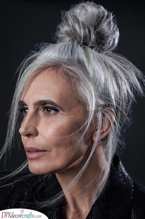 A High Bun - Long Hairstyles for Women Over 50
