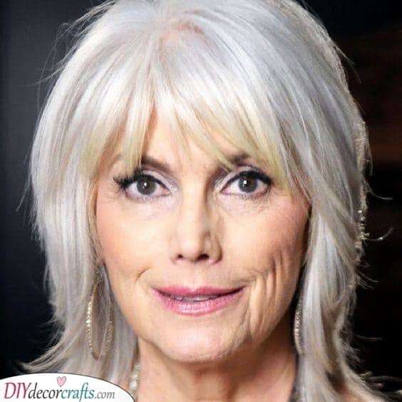 Fun Layers - Long Hair with Bangs Over 50