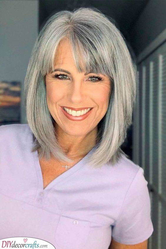 A Cute Bob - Long Hairstyles for Women Over 50