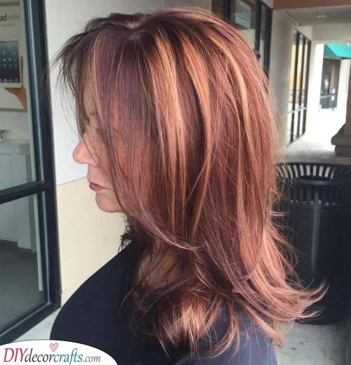 A Deep Auburn - Long Hairstyles for Women Over 50