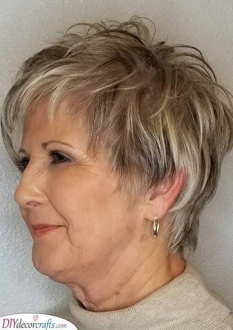 A Shaggy Pixie - Short Hairstyles for Older Women