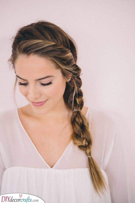 A Side Braid - Simple Hairstyles for Long Hair