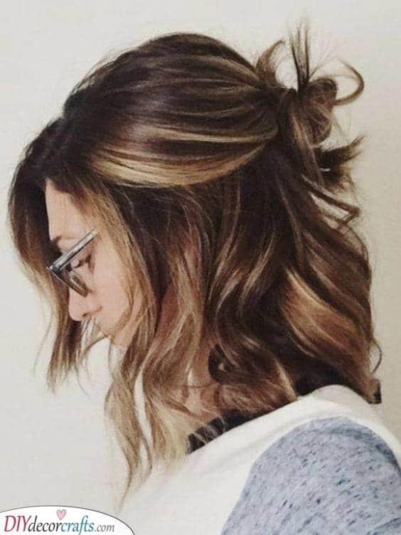A Lazy Bun - Hairstyles for Medium Length Hair