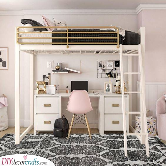 A Modern Vibe - Small Bedroom Ideas for Girls