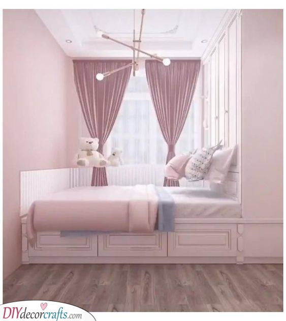 Storage Underneath - Girls Bedroom Ideas for Small Rooms