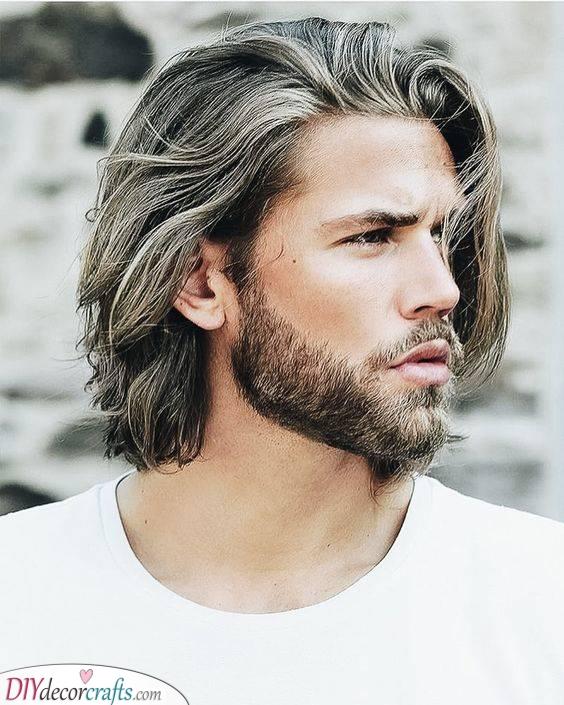 Going Grey - Simplistic Medium Long Haircuts for Men
