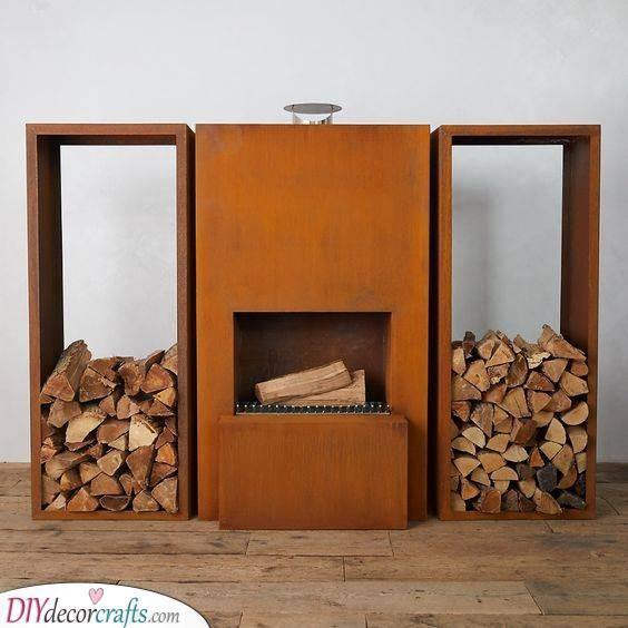 Geometric and Minimalist - Backyard Fireplace Ideas