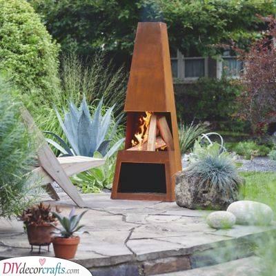 A Steel Firebox - Outdoor Fireplace Ideas