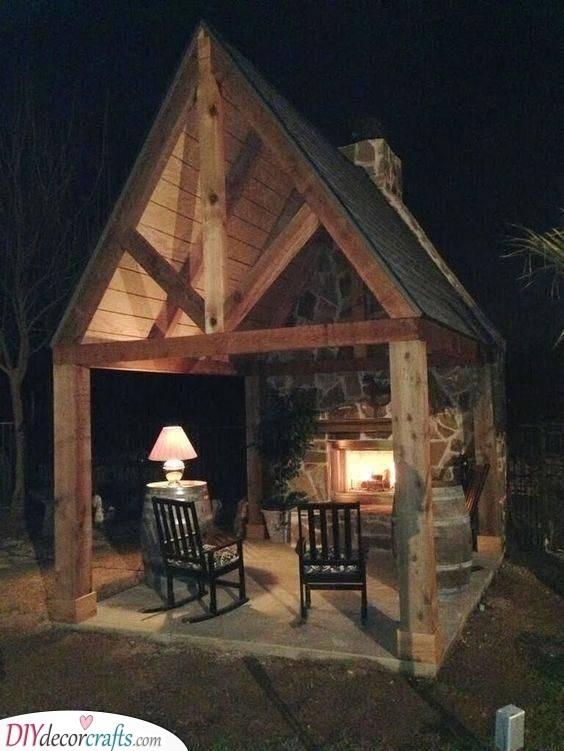 An Outdoor Room - Backyard Fireplace Ideas