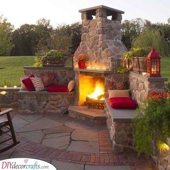 Adding a Seating Area - Outdoor Fireplace Ideas
