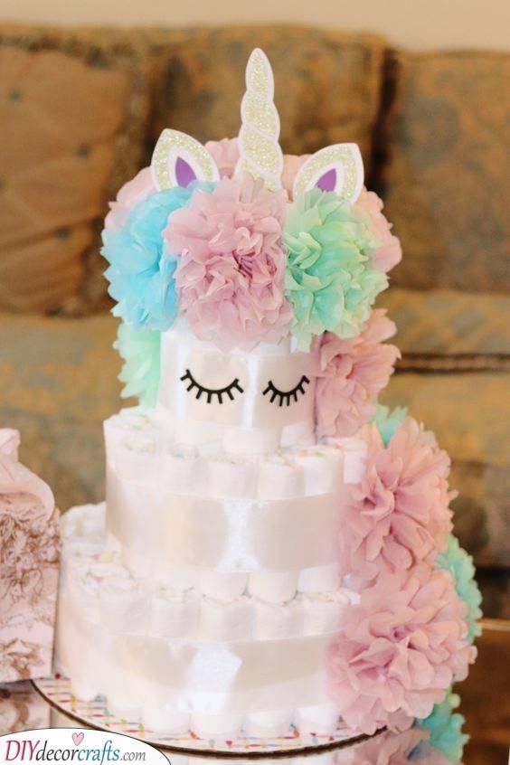 A Gorgeous Unicorn - Pretty Diaper Cake Ideas