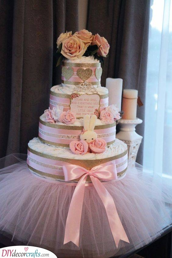 Roses and Hearts - Nappy Cake Ideas