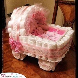 A Pretty Pink Stroller - Diaper Cake Ideas