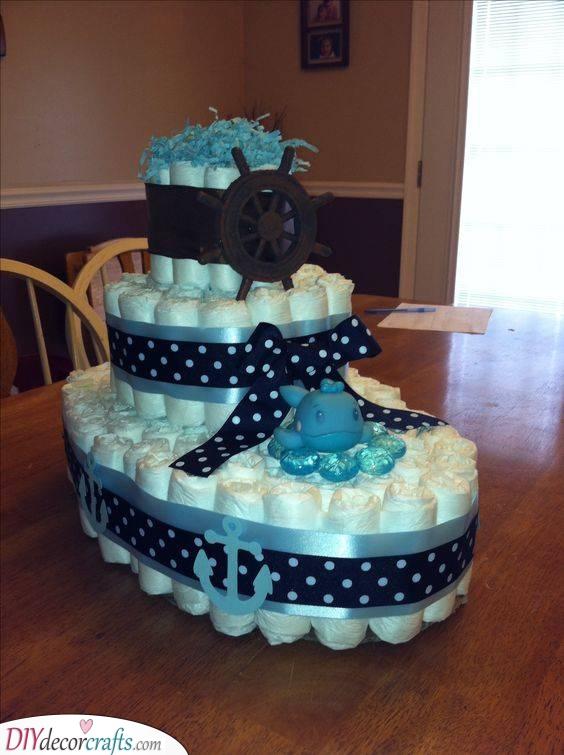 A Nautical Theme - Nappy Cake Ideas