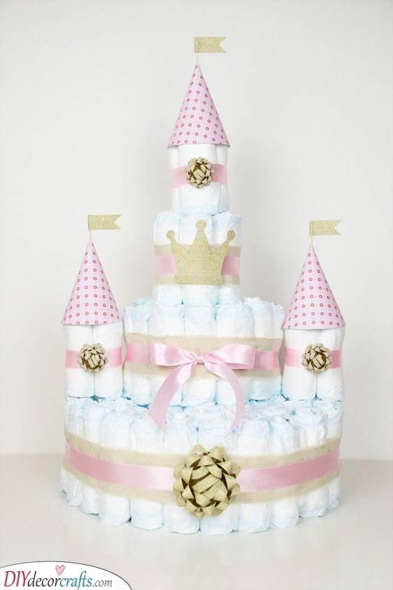 An Enchanting Castle - Baby Diaper Cake Ideas
