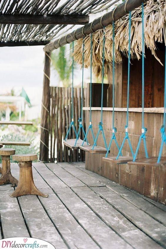 Swings Instead of Stools - Garden Bar Ideas