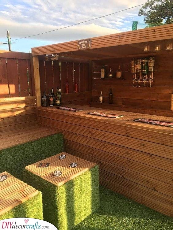 Wooden Pallets - Combined with Artificial Grass