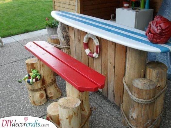 Major Beach Vibes - A Surfboard Table