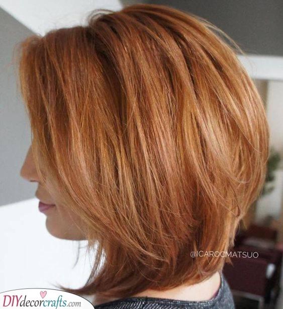 A Layered Bob - Medium Length Haircuts for Thin Hair