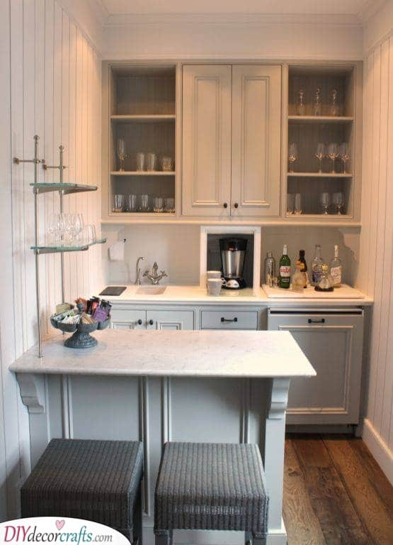 Add a Small Table - Small Kitchen Cabinet Ideas